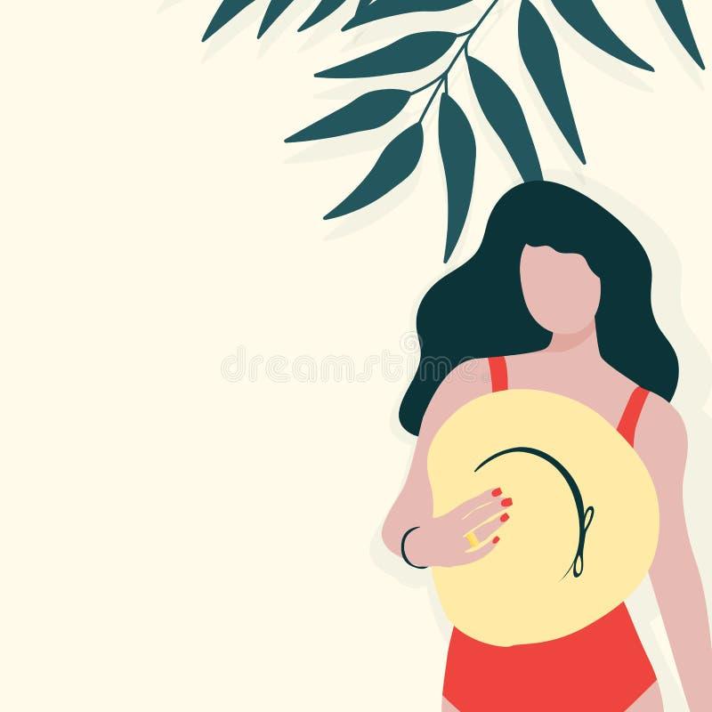 Jong langharig meisje met hoed in rood zwempak stock illustratie