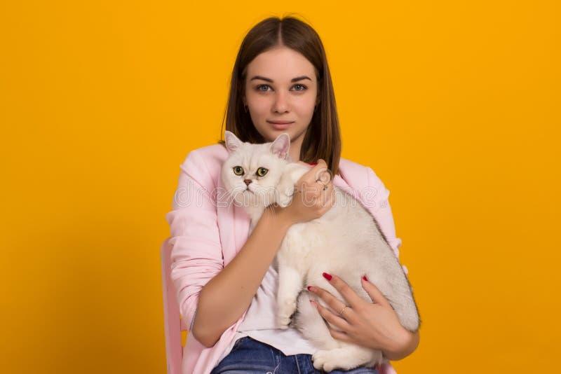 Jong leuk meisje met kat, studio stock afbeelding