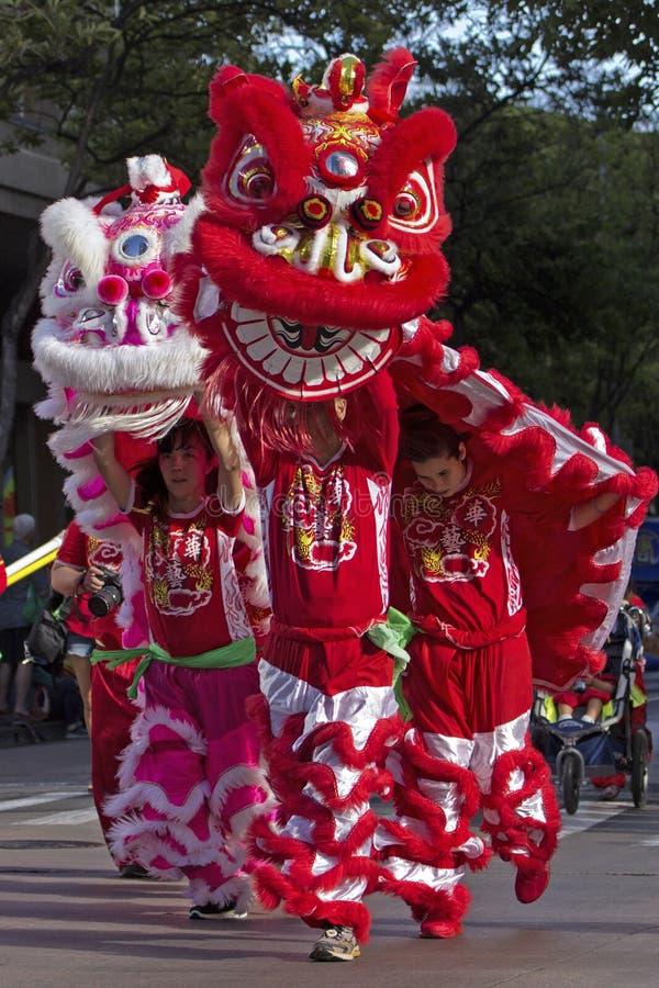 Jong Lion Dancers royalty-vrije stock foto's