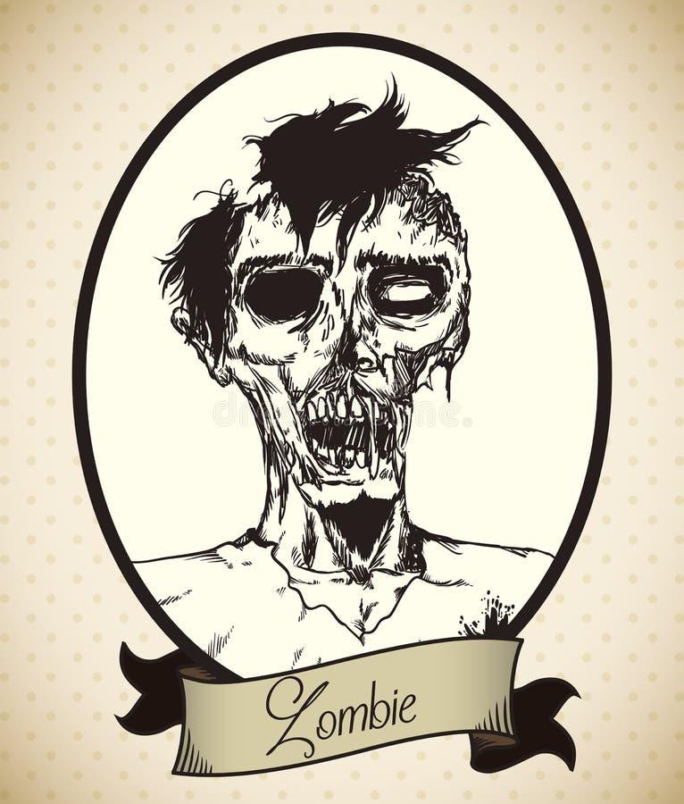 Jong Mannelijk Zombie Retro Portret, Vectorillustratie vector illustratie