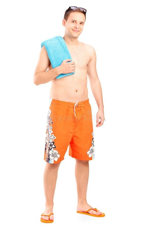 Jong mannetje in het baden van kleren stock afbeeldingen