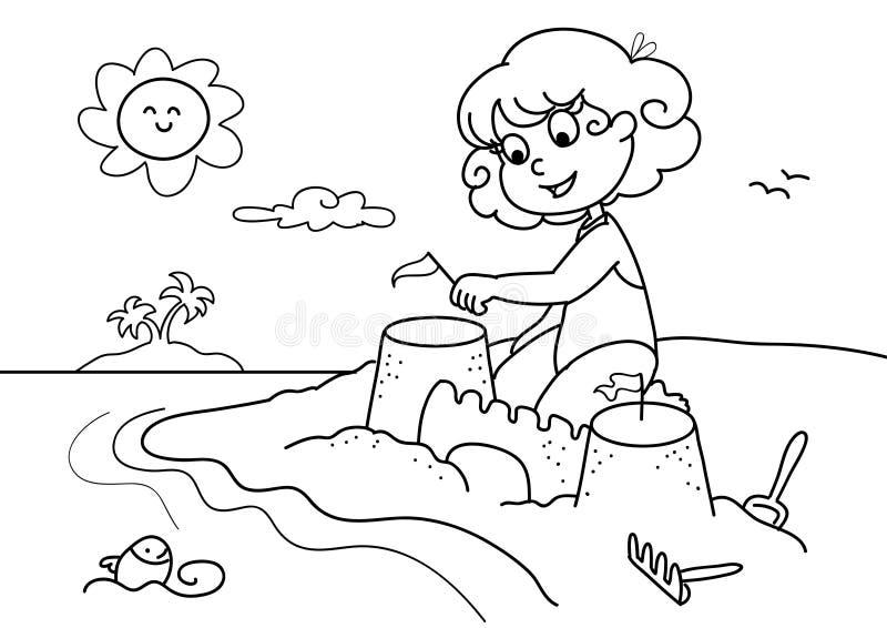 Download Jong meisje bij strandbw vector illustratie. Illustratie bestaande uit vakantie - 5694960