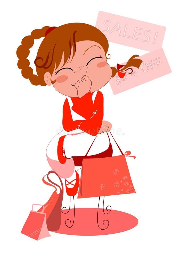 Jong meisje dat het winkelen doet royalty-vrije illustratie