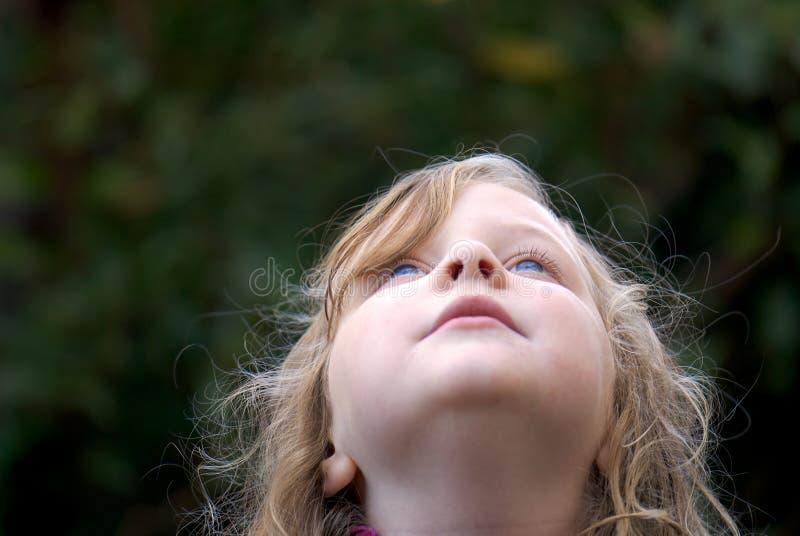 Jong meisje dat omhoog kijkt: blauwe ogen stock afbeelding