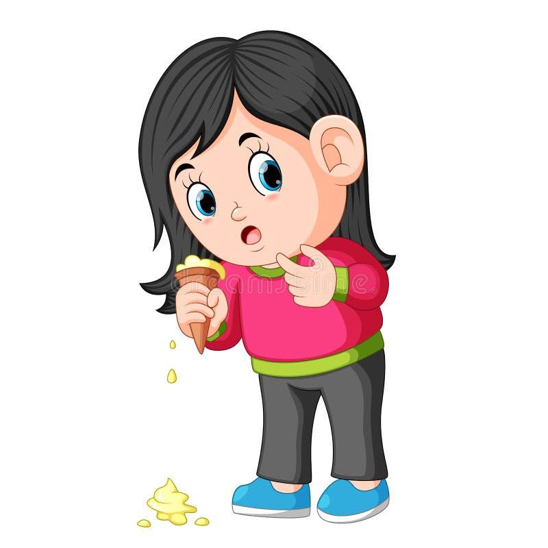 Jong meisje dat ongelukkig met roomijsdaling voelt stock illustratie