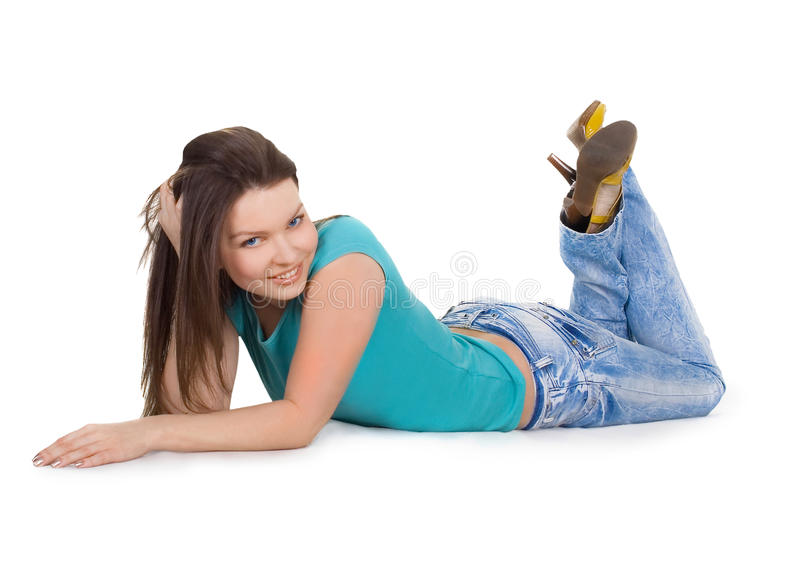 Jong meisje dat over witte achtergrond wordt geïsoleerde stock fotografie