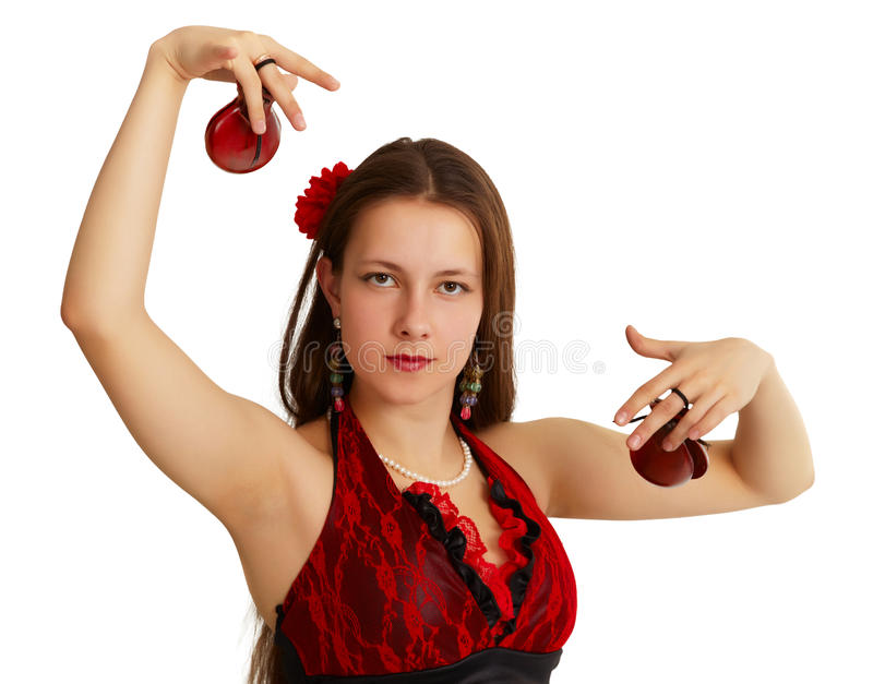 Jong meisje dat Spaanse dans uitvoert royalty-vrije stock afbeelding