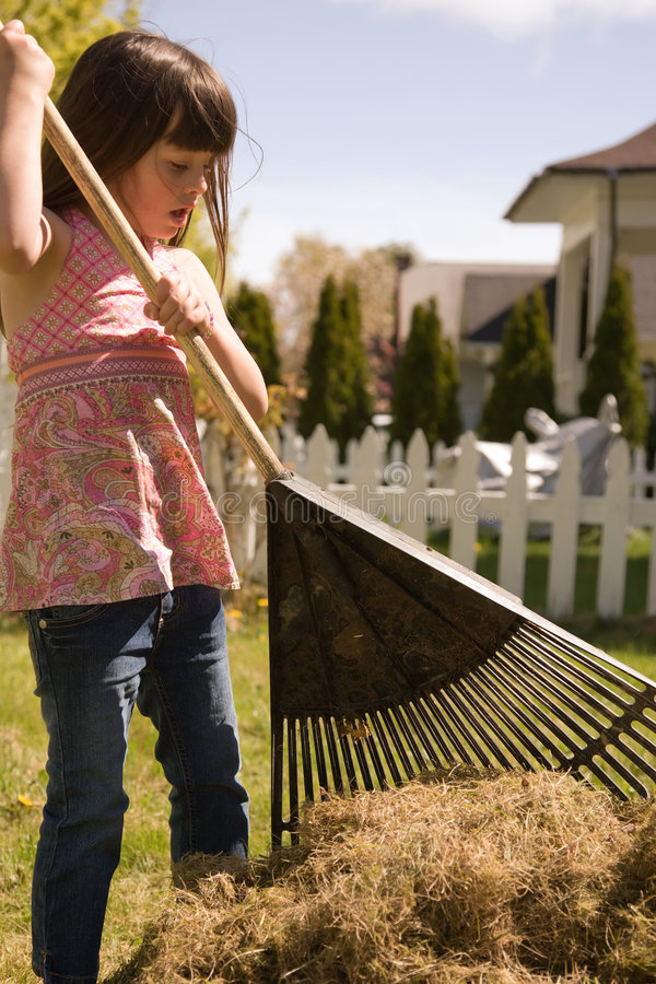 Jong meisje dat yardwork doet royalty-vrije stock afbeelding