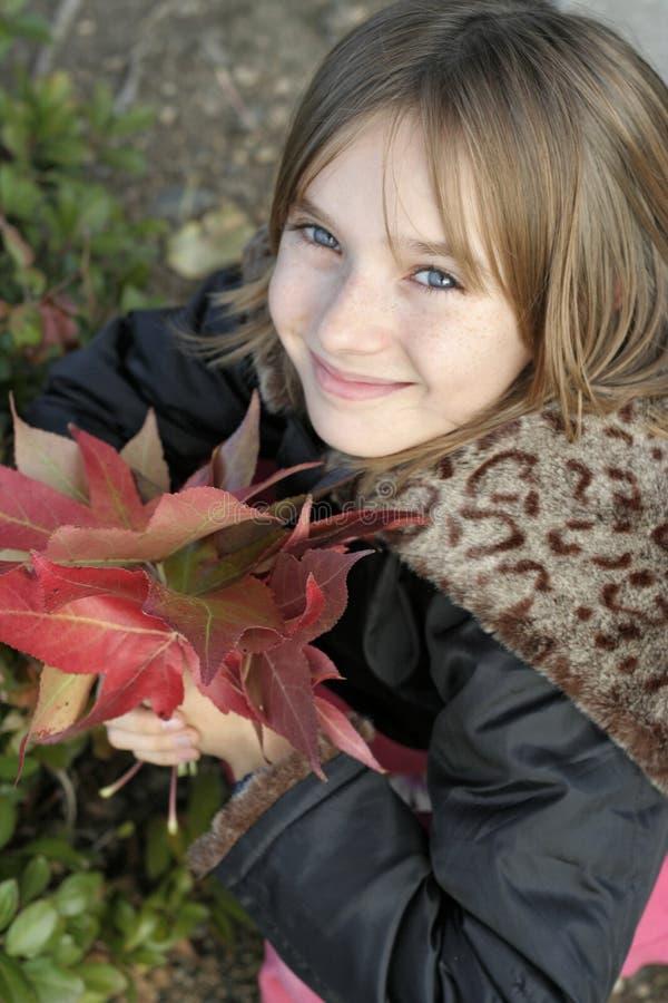 Jong meisje in de herfst stock afbeeldingen