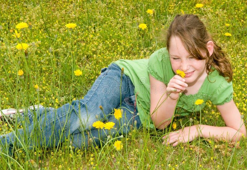 Jong meisje in de lenteweide stock afbeelding