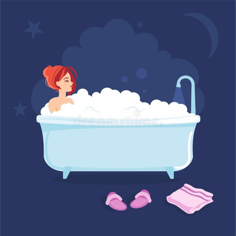 Jong meisje die een bad nemen alvorens naar slaap te gaan vector illustratie