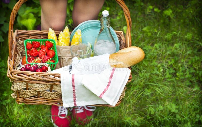 Jong meisje die een picknickmand met voedsel houden stock afbeelding