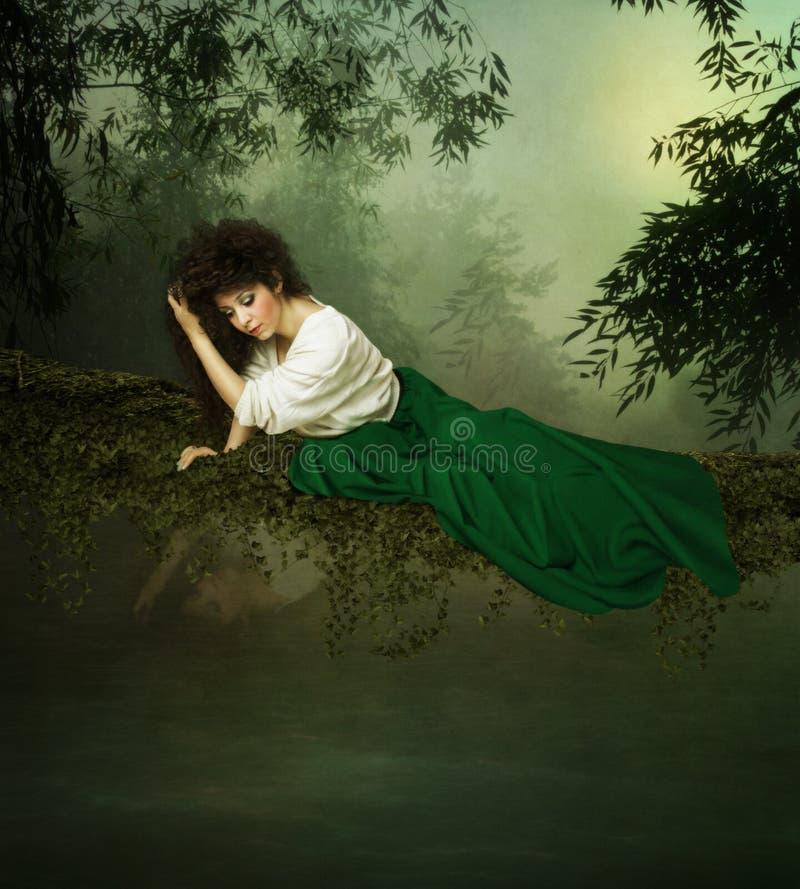 Jong meisje die het water bekijken vector illustratie