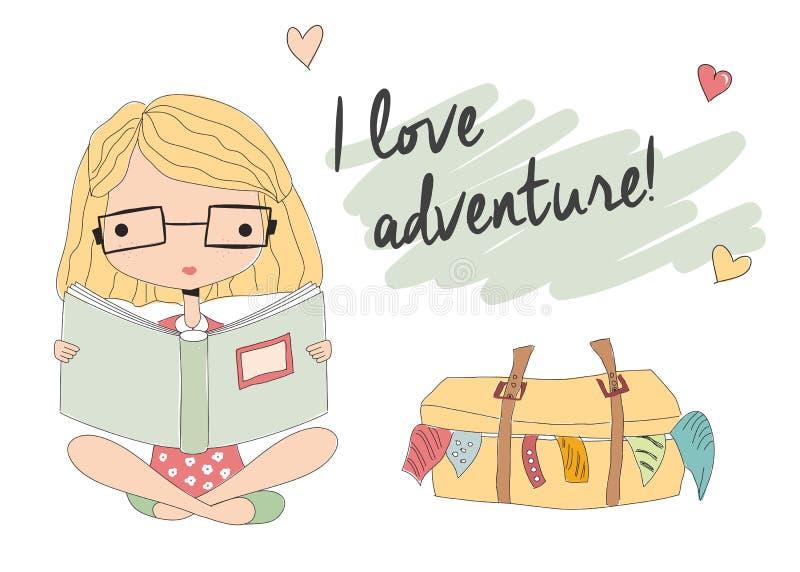 Jong meisje die met glazen een boek, ingepakte koffer lezen vector illustratie