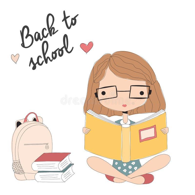 Jong meisje die met glazen een boek, terug naar school lezen royalty-vrije illustratie
