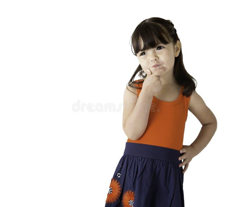 Jong meisje die over toekomst denken stock afbeeldingen