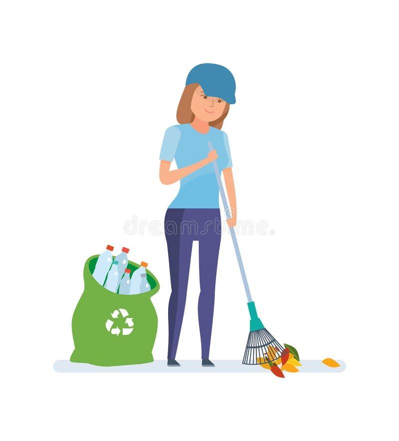 Jong meisje die, die plastic flessen verzamelen en huisvuil voor recycling schoonmaken royalty-vrije illustratie