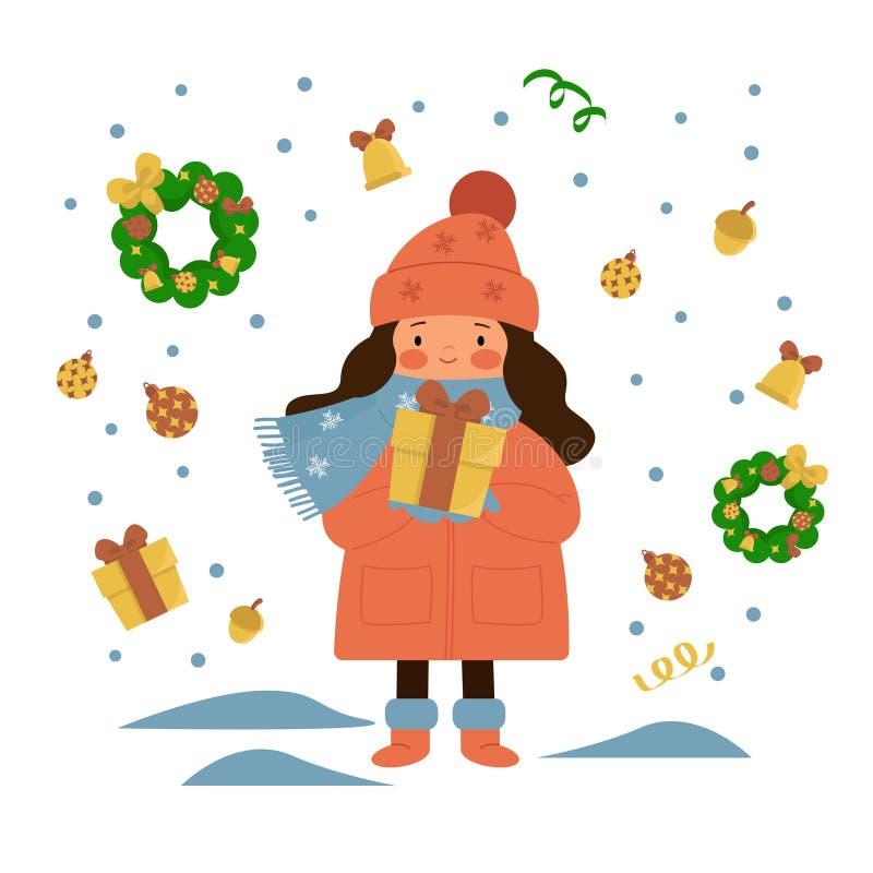 Jong meisje die zich onder de sneeuw bevinden en een gift houden Kerstmiskroon, giften, Kerstmisdecoratie, eikel, klok stock illustratie