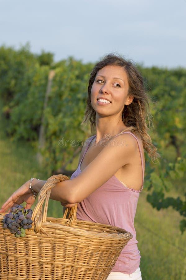 Jong meisje in druivenoogst met grote rieten mand voor het opslaan van g royalty-vrije stock foto