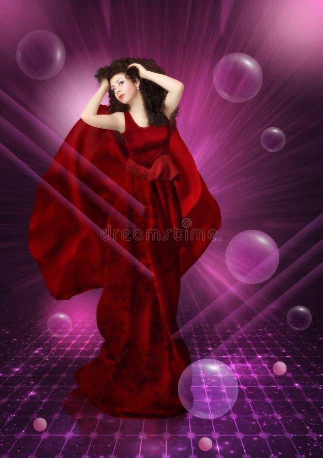 Jong meisje in een rode kleding stock afbeeldingen