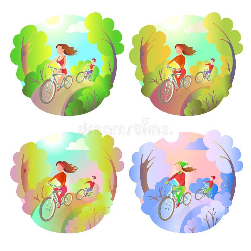 Jong meisje en de kerel op een fietsrit in het park Activiteiten openluchtsporten Berijdende fiets op elk ogenblik - de lente, de vector illustratie