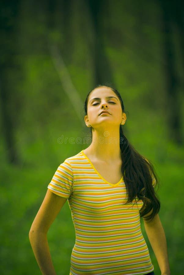 Jong meisje in het bos stock foto's
