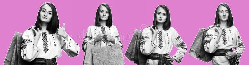 Jong meisje in het Oekra?ense nationale kostuum stock foto's