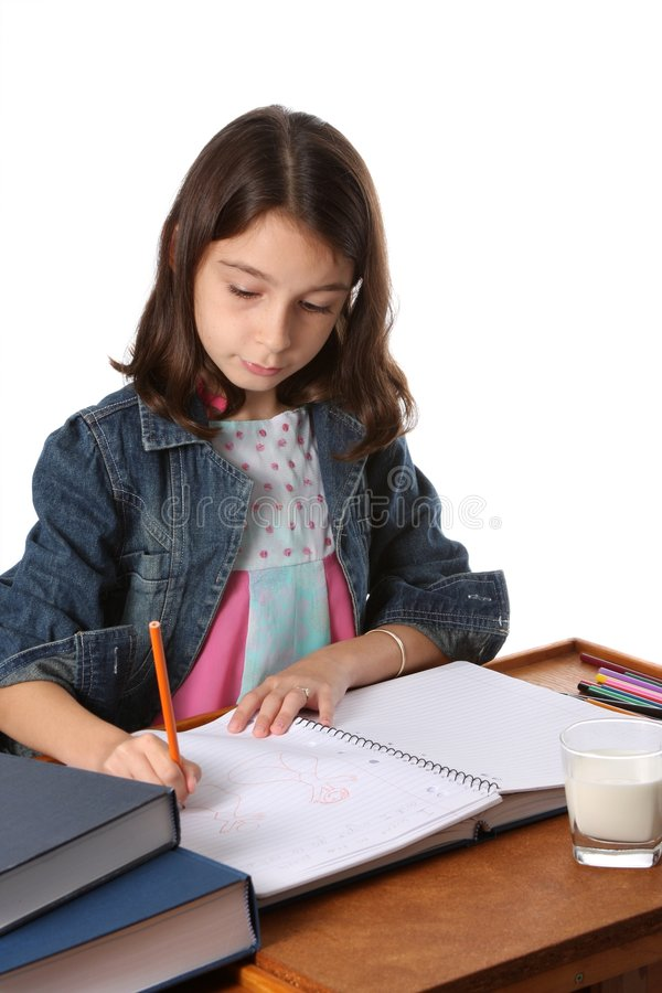 Jong Meisje/Kind die thuiswerk doen royalty-vrije stock foto's