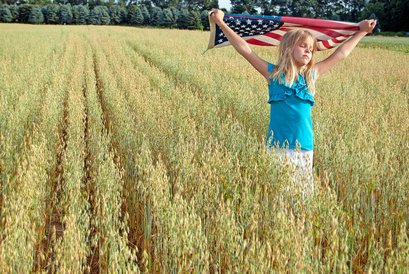 Jong meisje met Amerikaanse vlag op gebied royalty-vrije stock afbeelding