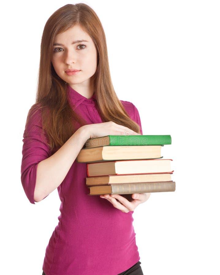 Jong meisje met boeken royalty-vrije stock foto's