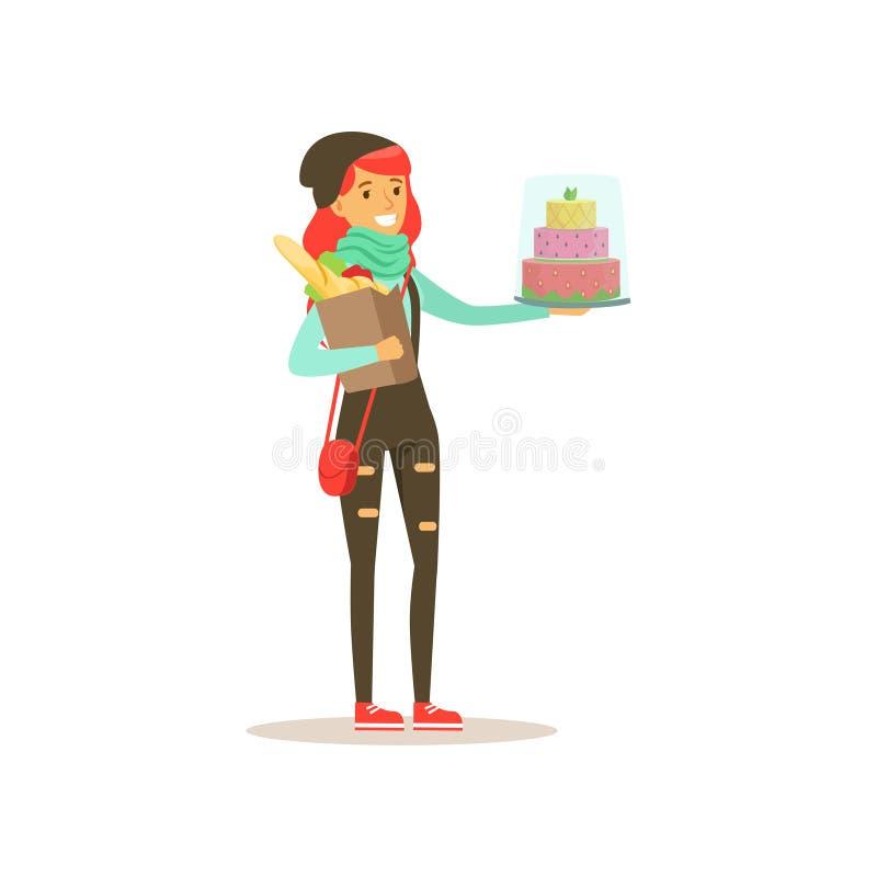 Jong meisje met cake en pak voedsel Organisatie van verjaardagsviering Het karakter van het beeldverhaalmeisje in hipsterkleding vector illustratie