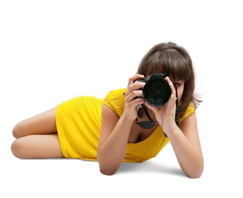 Jong meisje met camera stock foto