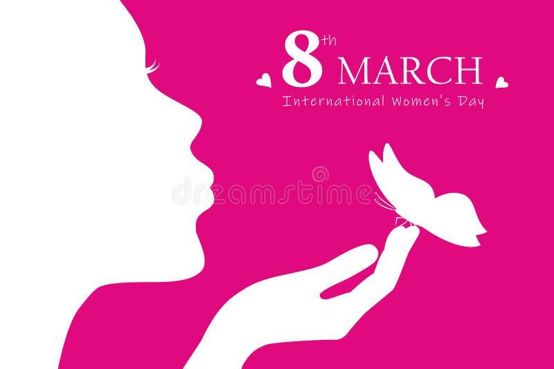 Jong meisje met de dag 8ste maart van de vrouw van het vlindersilhouet vector illustratie