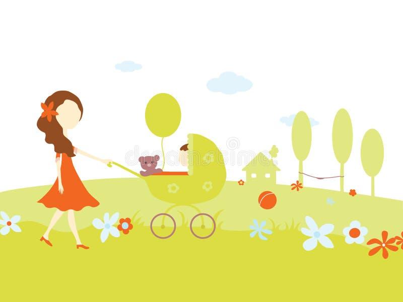 Jong meisje met een baby in kinderwagen stock afbeelding