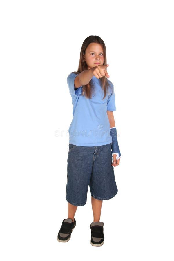 Jong meisje met gegoten blauw stock foto's