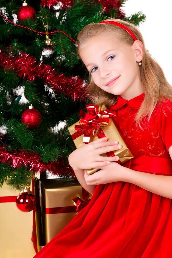 Jong meisje met gift. royalty-vrije stock foto's