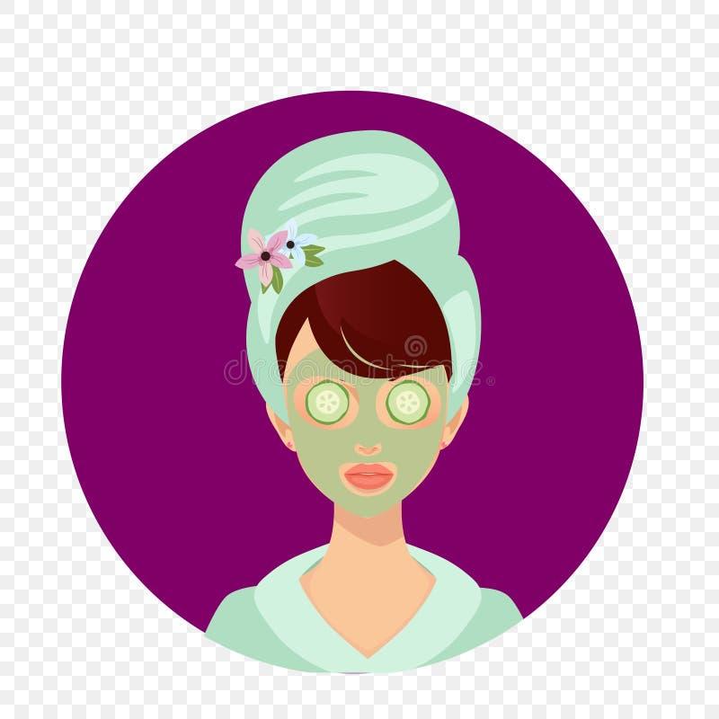 Jong Meisje met Handdoek op Hoofd en Komkommer op Ogen vector illustratie
