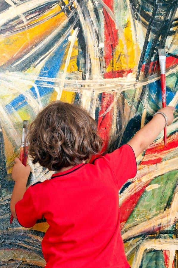 Jong Meisje met het Schilderen royalty-vrije stock foto