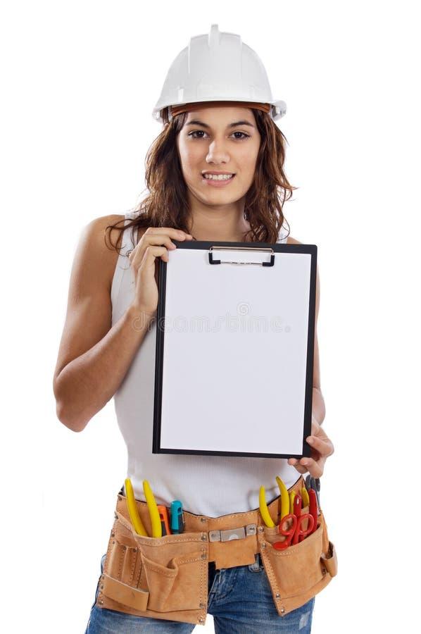 Jong Meisje met hulpmiddelen om te bouwen stock afbeelding
