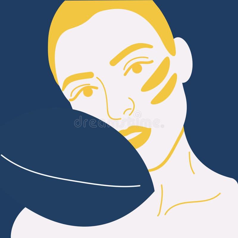 Jong meisje met kosmetische flarden onder de ogen Skincare, meisje die voor haar gezicht geven Vector illustratie Gelukkig meisje royalty-vrije illustratie