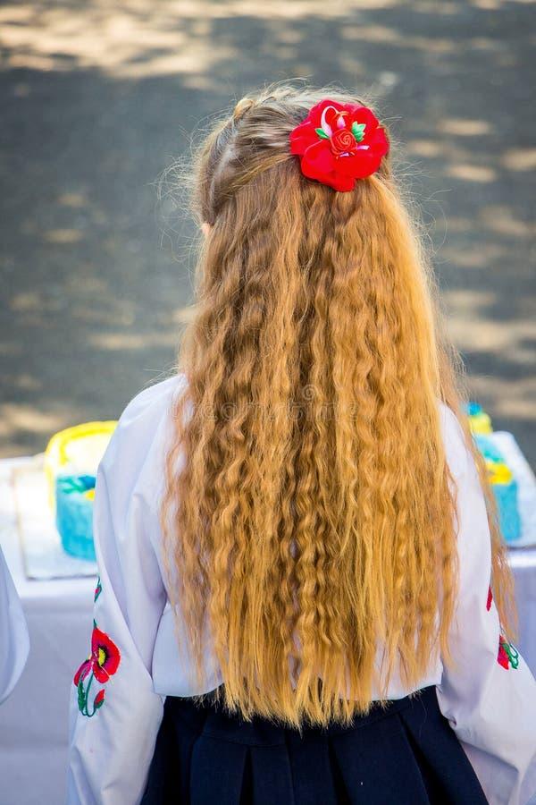 Jong meisje met lang golvend haar Feestelijke hairstyle_ stock foto's