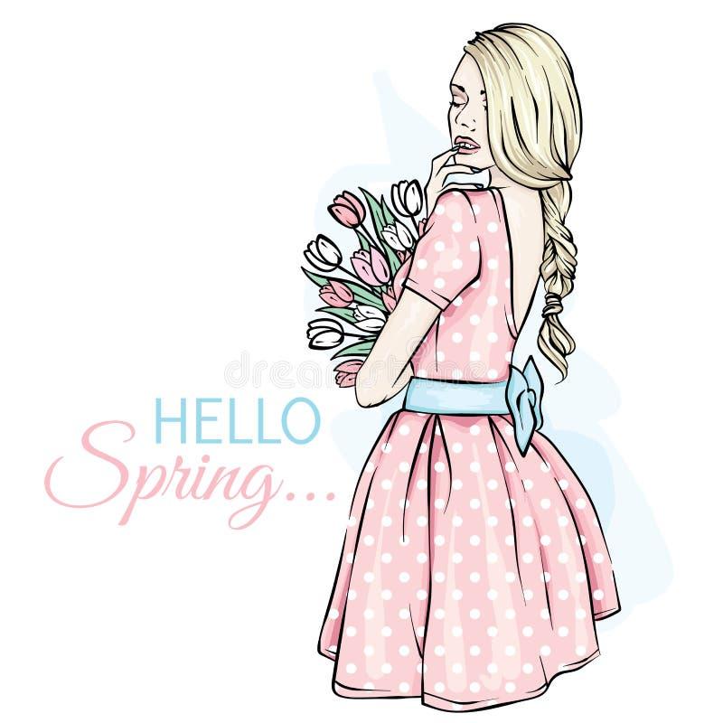 Jong meisje met lang haar in een mooie korte kleding Een boeket van tulpen Vector illustratie Kleding, toebehoren, manier royalty-vrije illustratie