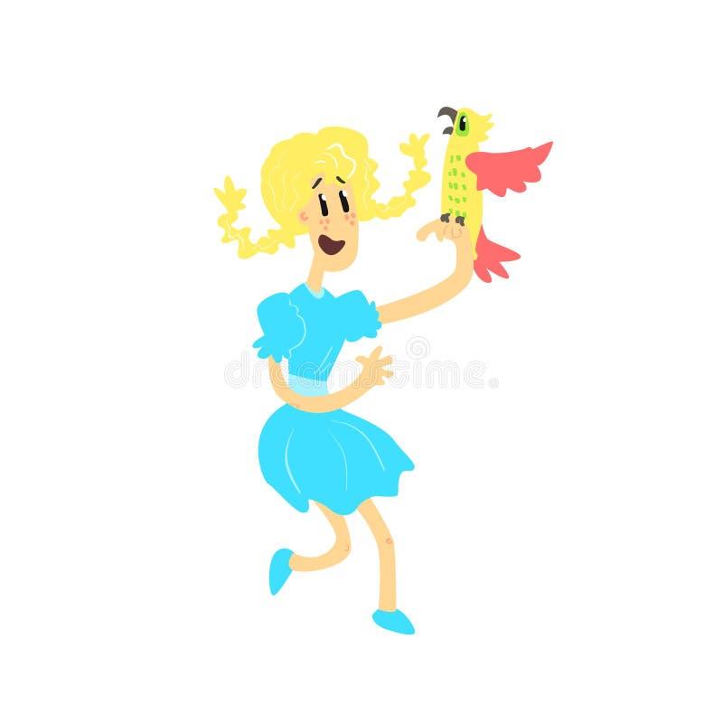 Jong Meisje met Papegaai vector illustratie