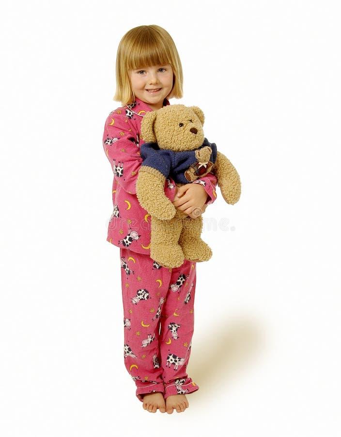 Jong Meisje met Teddybeer stock foto