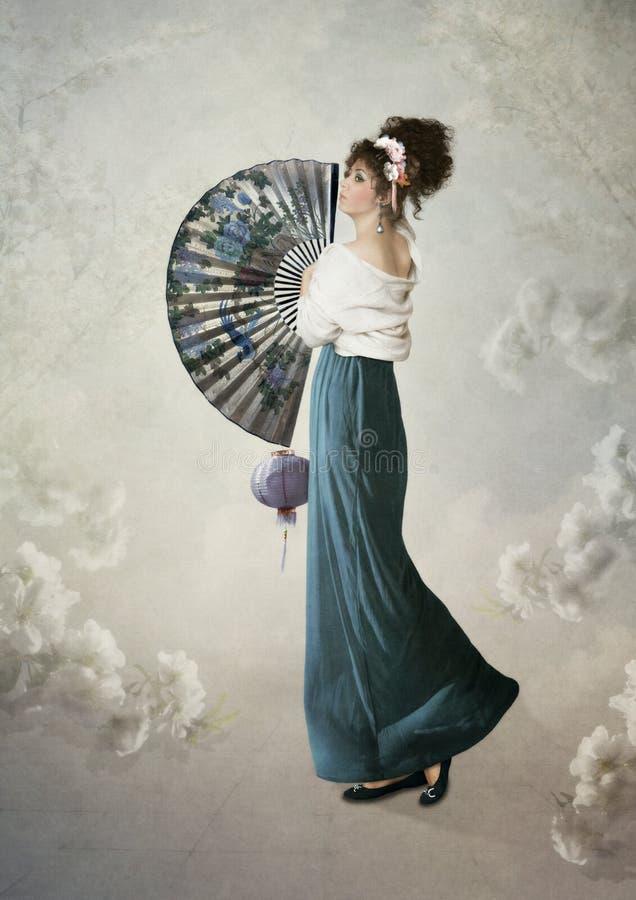 Jong meisje met ventilator royalty-vrije illustratie