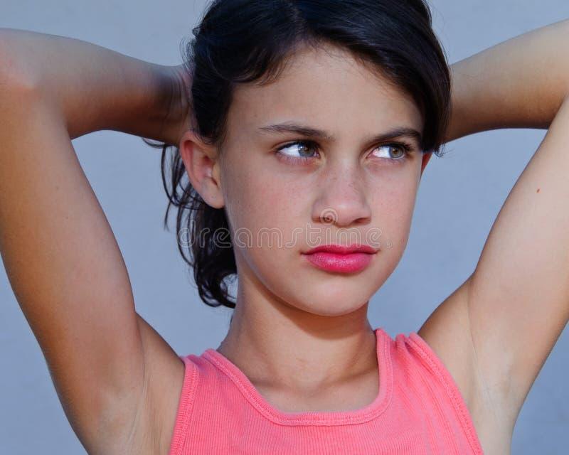 Jong meisje met verbeelding stock fotografie