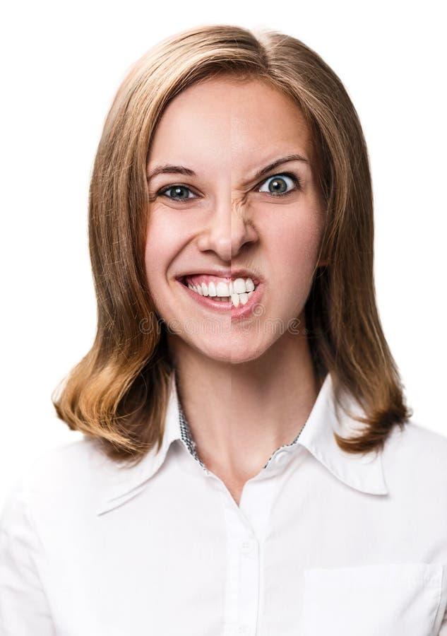 Jong meisje met woede en gelukkige emotie royalty-vrije stock afbeelding