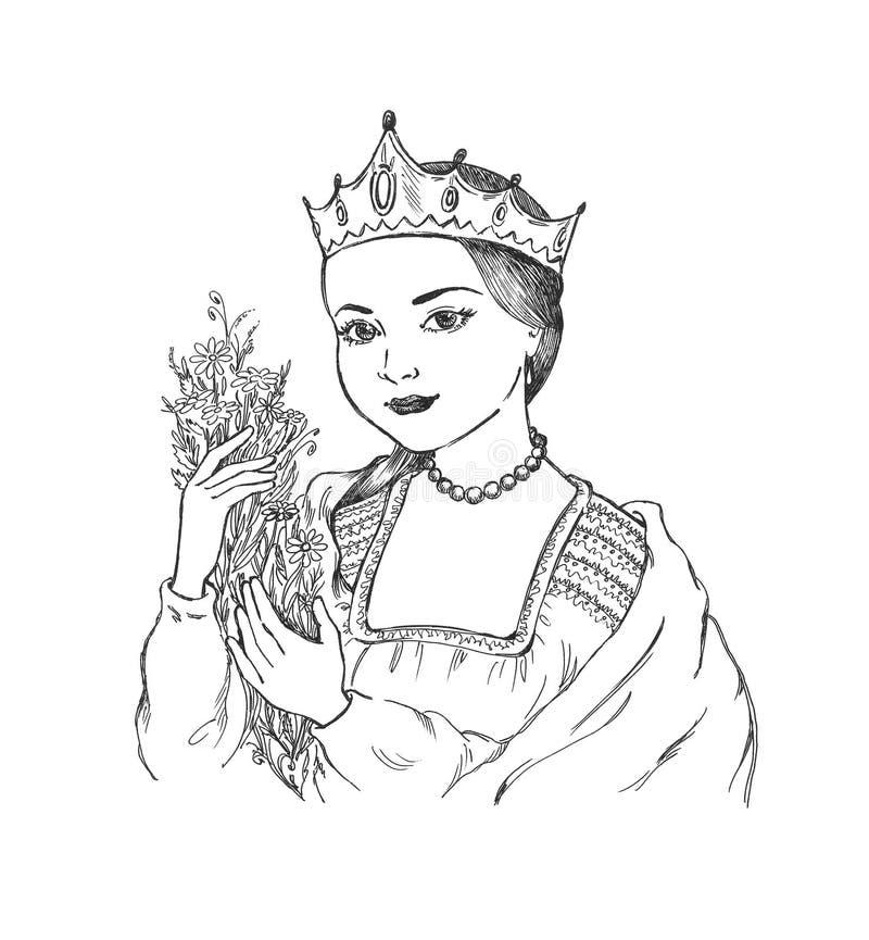 Jong meisje in nationale kleding royalty-vrije illustratie