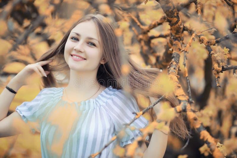 Jong meisje op een gang in de herfst stock fotografie
