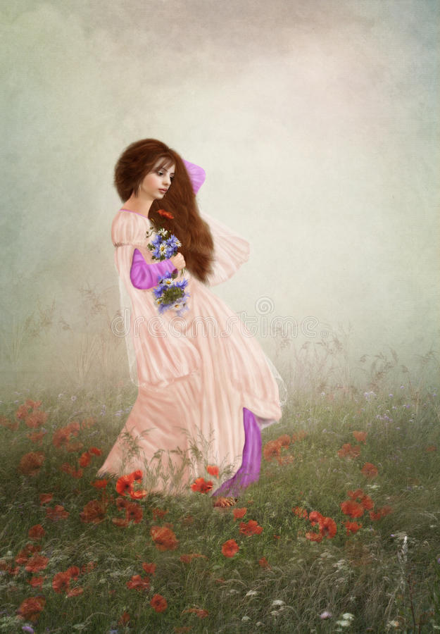 Jong meisje op papavergebied royalty-vrije stock afbeelding